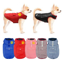 XS-XXXL Dog Waterproof Coat Jacket Winter Warm Clothes Pet Vest  Reversible Size