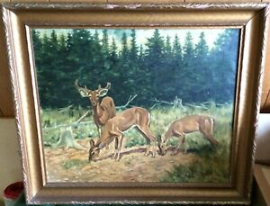 Listed WALTER HEMENWAY - Collectible 1930 Sportsman Oil of Deer - Large 23x27