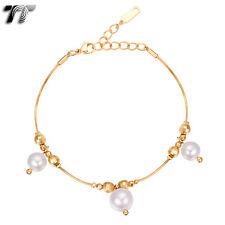 TT 18K Gold Filled Dangle Pearl Bracelet (CBF33)