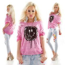 Locker sitzende 3/4 Arm Damenblusen, - tops & -shirts ohne Kragen aus Viskose