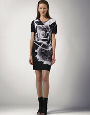$435 NEW Jonathan Saunders Black/White Negative Flower T-shirt Dress Sz L