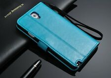 Genuine Real Leather Flip Wallet Case Cover For Samsung S Series & Note Series.