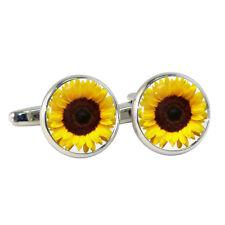 Sunflower Cufflinks Gift Boxed happy sunny yellow sun flower Helianthus BNIB NEW