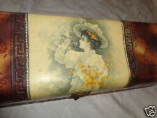 ANTIQUE VICTORIAN LADY GARDEN PICKING FLOWERS APPLE BLOSSOM CELLULOID GLOVE BOX