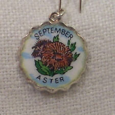 Vintage REU Sterling/Enamel September Aster Birth Month Flower Charm New
