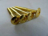 4pcs Neck Plate Gold Mounting Screws for Fender Strat Stratocaster Tele Guitar
