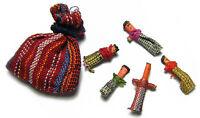 Guatemalan WORRY DOLLS - 6 Dolls w/Multi Color Pouch in Packaging w/Description