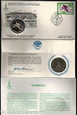 RUSSIA 1980 MOSCOW OLYMPIC SILVER COIN HURDLING UNC CURRENCY MONEY + FDC STAMP