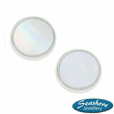 Mother of Pearl Round White Stud Earrings Womens Silver Jewellery Gift Boxed