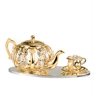 SWAROVSKI CRYSTAL STUDDED TEAPOT AND TEACUP SET FIGURINE 24K GOLD PLATED
