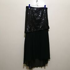 C376 - Line & Dot Black Sequined and Sheer Fabric Skirt