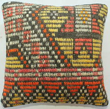 (35*35CM, 14 INCH) Turkish handwoven kilim pillow cover brocaded yellow orange