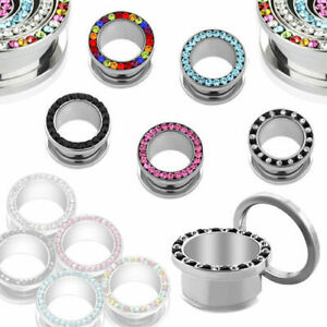 Screw Flesh Tunnel Ear Plug Piercing Silver Colours Stainless Zirconia Crystal