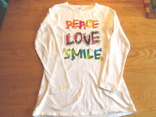 FALLS CREEK GIRLS WHITE LONG SLEEVE PEACE LOVE SMILE LONG SHIRT SIZE 14/16 NWTS