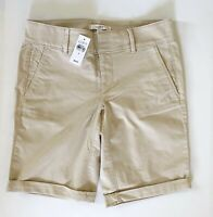 "NWT Ann Taylor Loft Women's 10"" Milky Tan Beige COTTON BERMUDA ROLL Shorts 0 2 4"
