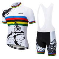 2019 tanyho Short Sleeve white Men Bike Cycling Jersey Shirt GEL Bib Shorts Set