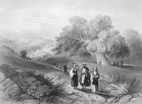 West Bank, AL-EIZARIYA FIELDS OF BETHANY ~ 1847 Landscape Art Print Engraving