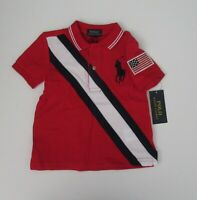 NWT Ralph Lauren Toddler Boys S/S Big Pony USA Red Mesh Polo Shirt 2/2t NEW $45