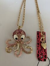 Betsey Johnson PINK Enamel Crystal Cute Octopus Sweater Chain Necklace-BJ88053