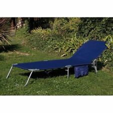 Lettino Da Mare Blu In Acciaio Con Tasca pieghevole Prendisole campeggio