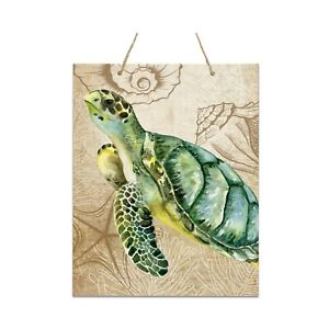 Decorative Sea Turtle Hanging Sign Art Canvas Seaside Decor for Living Bedroom