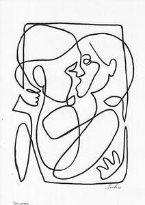 original drawing A4 77BJ art samovar ink modern female portrait Signed 2020