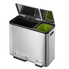 EKO Dual Compartment Stainless Steel Recycle Step Trash Can 30L + 15L