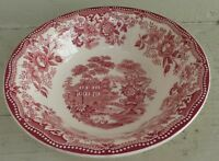 """Royal Staffordshire Tonquin Pink Soup Bowl Red Scenic Clarice Cliff 8"""""""