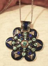 Sparkling Silvertn Scalloped Flower Deep Blue & Teal Rhinestone Pendant Necklace