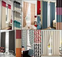 1 PAIR FULLY LINED EYELET RING TOP CURTAINS ~ Many Designs, Colours & Sizes