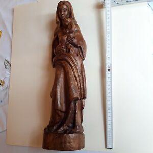 Holzfigur Madonna mit Kind Hartholz mittelbraun gebeizt handgeschnitzt ca.39 cm