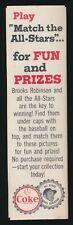 "1967 Coca-Cola (Coke) Caps UNUSED ""SAVER SHEET"" -All-Stars *Brooks Robinson*"