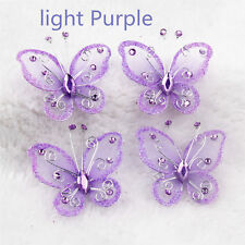 wholesale 20Pcs Mix Color Organza Butterfly Craft Wedding Party Decoration 2""