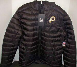 Ultra Game NFL Men's Full-Zip Hooded Puffer Jacket Black XL Washington Redskins