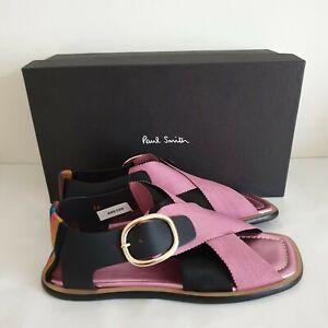 Paul Smith Sandals Size 38 UK 5 Arrow Fuchsia Purple Crossover Strap Buckle New