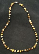 Eye Stone Strand Necklace 19.25� Sterling Silver Hand Made Brown Tiger