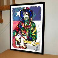 Waylon Jennings Singer Guitar Country Music Poster Print Wall Art 18x24