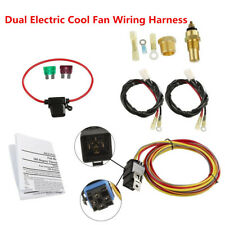 Car Truck DC12V Dual Electric Cool Fan Wiring Harness + Waterproof 40A Relay Kit