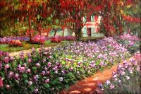 Claude Monet Garden at Giverny Repro, Quality Hand Painted Oil Painting 24x36in