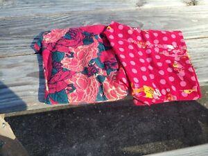 2 EUC Lularoe OS Leggings Beautiful Pink Floral and Polka Dot Perfect for Spring