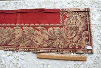 "Antique French c1890 Red Woven Floral Tapestry Border Fabric~L-56"" X W-12.5"""