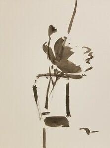 JOSE TRUJILLO - MODERNIST EXPRESSIONISM INK WASH ORIGINAL Still Life 9X12 Peony