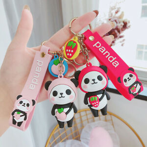 Cute Cartoon Panda Keychain Silicone Key Chains For Women 3D Animal Keyrings