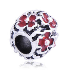 5PCS Silver Filled Red Enamel Flower Lot Charm Bead Loose European Rope Bracelet