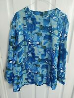 WOMENS COTTON BLUE GREEN BLOCK BLOUSE TOP SIZE 24 LONG SLEEVE PIT TO PIT 26 INCH