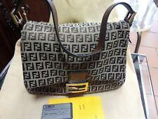 Fendi Borsa Zucca Baguette Canvas Leather Shoulder Bag Originale