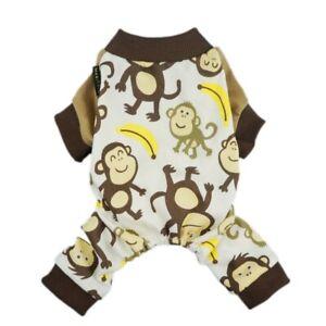 Fitwarm Monkey Dog Pajamas for Small Medium Pet Clothes Cat Shirt Jumpsuit Pants