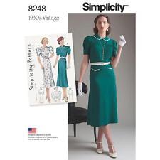 SIMPLICITY SEWING PATTERN MISSES 1930s VINTAGE DRESSES SIZE 4 - 20 8248