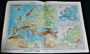 ATLAS TOPOGRAPHIC MAP PAGE PLATE OF EUROPE 1928 ITALIAN LANGUAGE VINTAGE