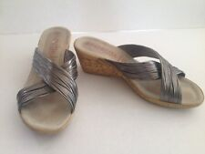 PATRIZIA BY SPRING STEP MARGE WEDGE HEEL ITALY SILVER PEWTER 9.5 40 FREE SHIP!